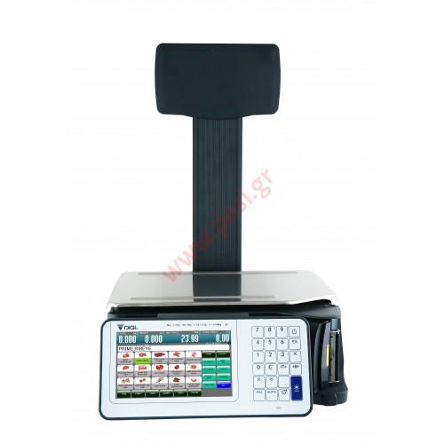 Ζυγαριά DIGI SM-5300P με εκτυπωτή-οθόνη χειριστή στο σώμα του ζυγού και υπερυψωμένη οθόνη πελάτη (Pc Based)